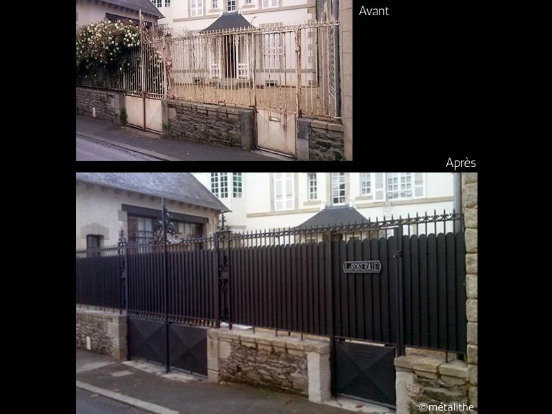 rénovation portail grille fer forgé